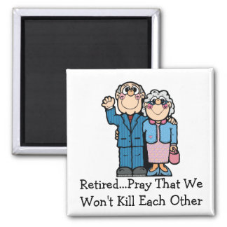 Retired Couple 2 Inch Square Magnet