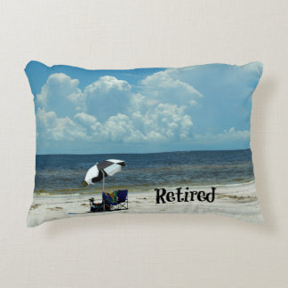 Retired, Day at the Beach Accent Pillow