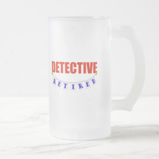 RETIRED DETECTIVE FROSTED GLASS BEER MUG