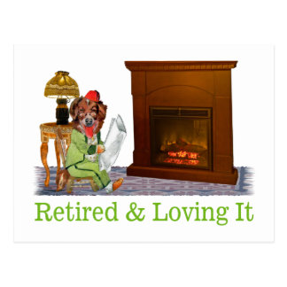 Retired Dog Lounging By The Fire Postcard
