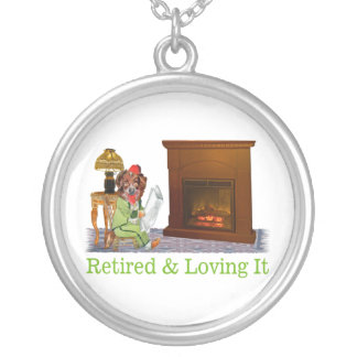 Retired Dog Lounging By The Fire Silver Plated Necklace