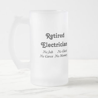 Retired Electrician 16 Oz Frosted Glass Beer Mug