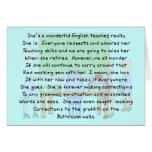 Retired English Teacher Story Art Gifts Card