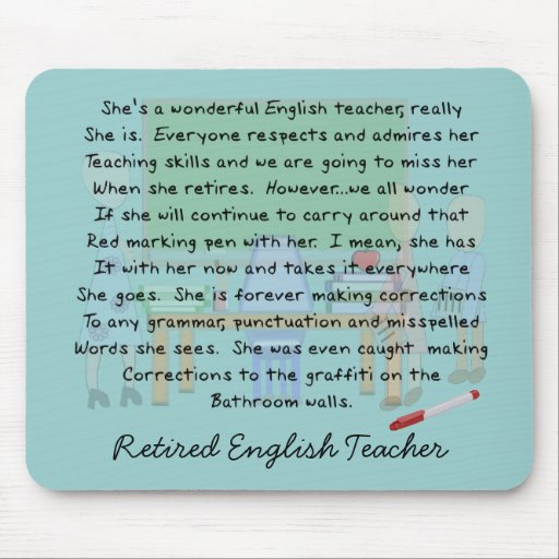Retired English Teacher Story Art Gifts Mouse Pad