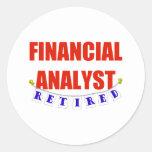 RETIRED FINANCIAL ANALYST CLASSIC ROUND STICKER