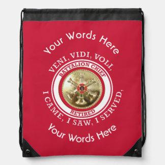 Retired Fire Battalion Chief VVV Shield Drawstring Bag