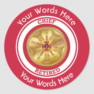 Retired Fire Chief Classic Round Sticker
