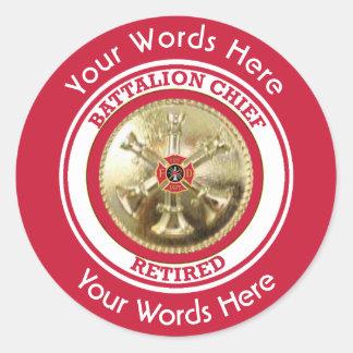 Retired Firefighter Battalion Chief Classic Round Sticker
