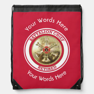 Retired Firefighter Battalion Chief Drawstring Bag