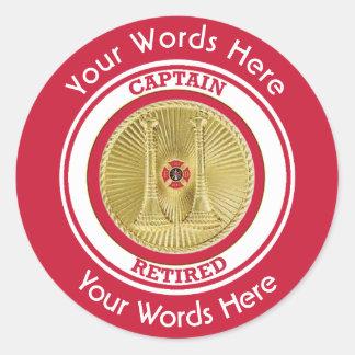 Retired Firefighter Captain Classic Round Sticker