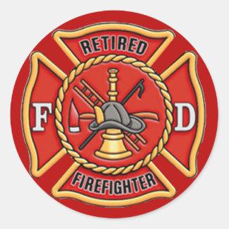 Retired Firefighter Classic Round Sticker