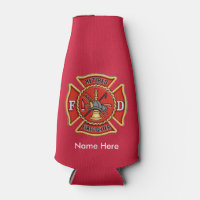 Retired Firefighter Maltese Cross Bottle Cooler