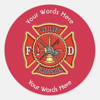 Retired Firefighter Maltese Cross Classic Round Sticker