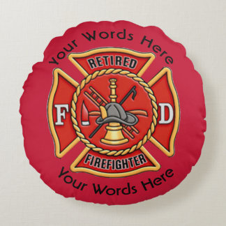 Retired Firefighter Maltese Cross Round Pillow