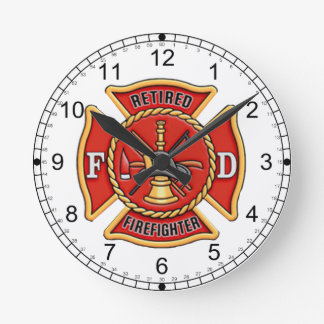 Retired Firefighter Round Clock
