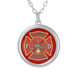 Retired Firefighter Silver Plated Necklace