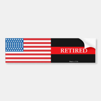 Retired Firefighter Thin Red Line Bumper Sticker