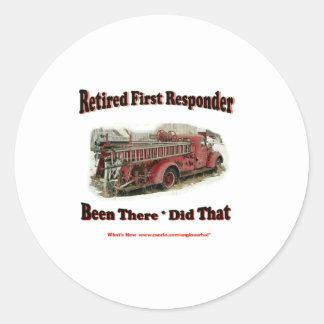 Retired First Responders. Classic Round Sticker