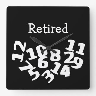 Retired Funny Fallen Numbers Square Wall Clock