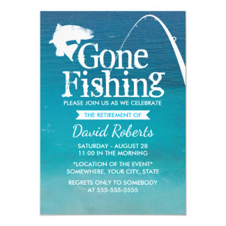 Retired Gone Fishing Retirement Party Card