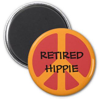 RETIRED HIPPIE: Peace Symbol, Retired Hippie. 2 Inch Round Magnet