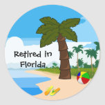 Retired In Florida Classic Round Sticker at Zazzle