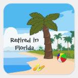 Retired In Florida Square Sticker at Zazzle