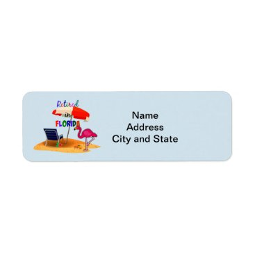 Beach Themed Retired in Florida, whimsical address label