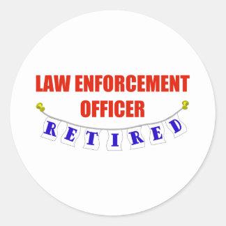 RETIRED LAW ENFORCEMENT OFCR CLASSIC ROUND STICKER