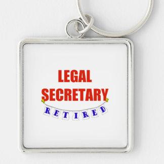 RETIRED LEGAL SECRETARY Silver-Colored SQUARE KEYCHAIN