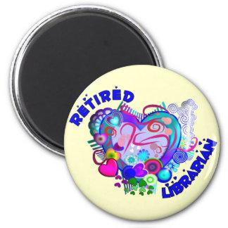Retired Librarian Artsy Retro Blue Heart 2 Inch Round Magnet