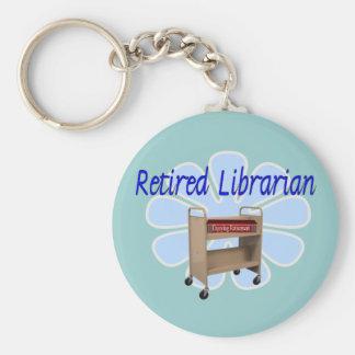 retired Librarian Book Cart Design Keychain