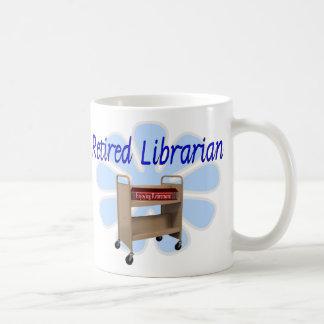 retired Librarian Book Cart Design Mugs