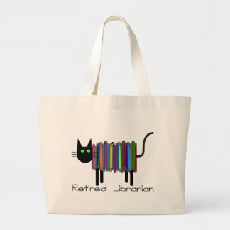 Retired Librarian Book Cat Gifts Canvas Bags