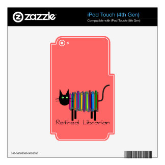 Retired Librarian Book Cat Gifts iPod Touch 4G Decal