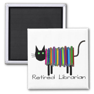 Retired Librarian Book Cat Gifts 2 Inch Square Magnet