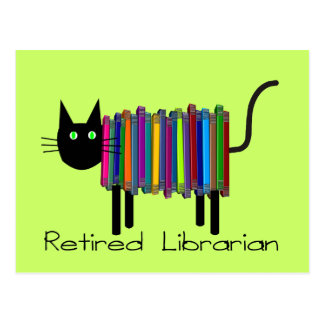 Retired Librarian Book Cat Gifts Postcard