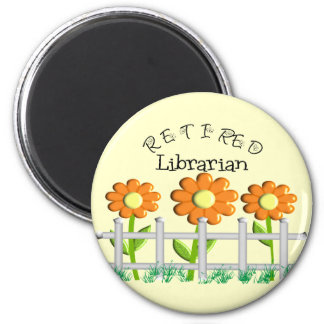 Retired Librarian Daisies Fence Design Gifts Refrigerator Magnet