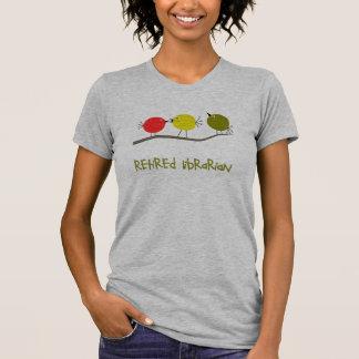 Retired Librarian Reto Birds Design Gifts T-Shirt