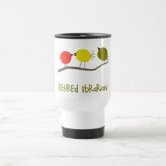 Retired Librarian Reto Birds Design Gifts Travel Mug