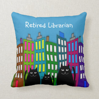 Retired Librarian Whimsical Cats PIllow