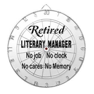 Retired Literary Manager No job No clock No cares Dartboard