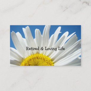 Retired business cards templates zazzle retired loving life business cards daisy floral colourmoves