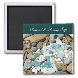 Retired Loving Life Ocean Beach magnets Seashell