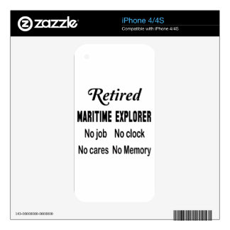 Retired Maritime explorer No job No clock No cares Decal For The iPhone 4S