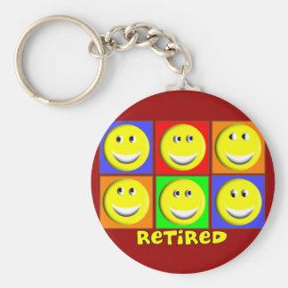 """""""RETIRED"""" Multi Smileys Design Basic Round Button Keychain"""
