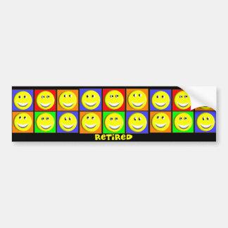 """RETIRED"" Multi Smileys Design Bumper Sticker"