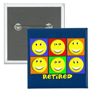 """RETIRED"" Multi Smileys Design Button"