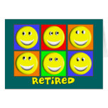 """RETIRED"" Multi Smileys Design Greeting Card"