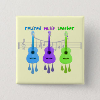 Retired Music Teacher 3 Guitars Design Button